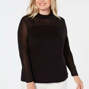INC Plus Size Long-Sleeve Illusion Top, Size 2X